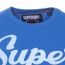 Tee-shirt col rond Superdry en coton bleu roi floqué en bleu clair