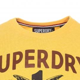 Tee-shirt col rond Superdry en coton mélangé jaune floqué