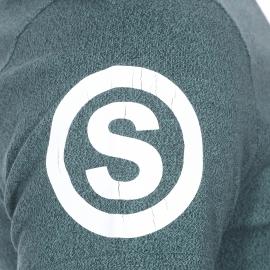 Tee-shirt col rond Superdry vert sapin chiné floqué en bleu marine