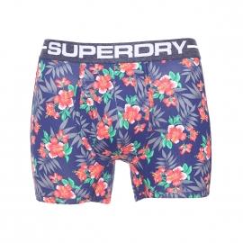 Boxer long ouvert Superdry en coton pima stretch bleu marine à imprimé hibiscus