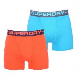 Lot de 2 boxers ouverts Superdry en coton pima stretch : 1 modèle bleu turquoise et 1 modèle orange