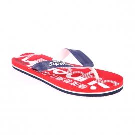Tongs Scuba Flip Flop Superdry rouges floquées en blanc et bleu marine