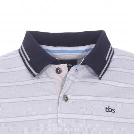 Polo TBS Galpol en maille oxford à fines rayures blanches et grises
