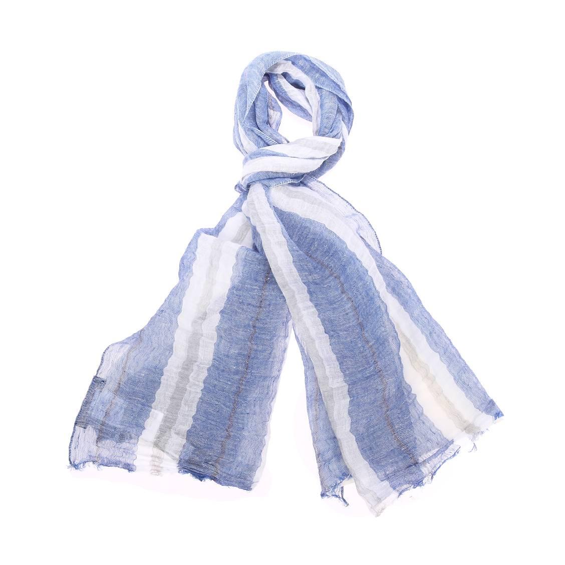 Chèche  en lin bleu indigo à rayures blanches et grises