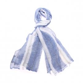 Chèche Tommy Hilfiger en lin bleu indigo à rayures blanches et grises