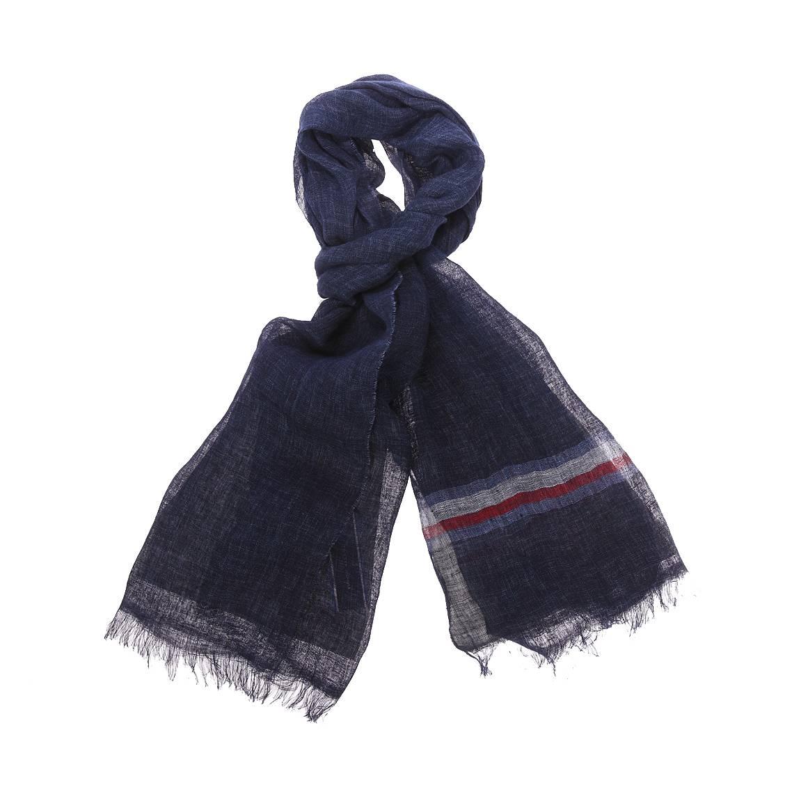 Chèche  en lin bleu marine à bande tricolore