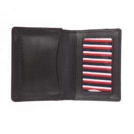 Porte-cartes Tommy Hilfiger Triple Emboss en cuir noir texturé de motifs