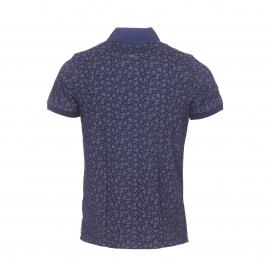 Polo cintré Tommy Hilfiger en jersey de coton bleu indigo à fleurs grises