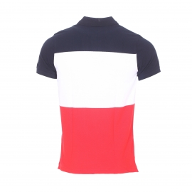 Polo cintré Tommy Hilfiger en piqué de coton tricolore : bleu marine, rouge et blanc