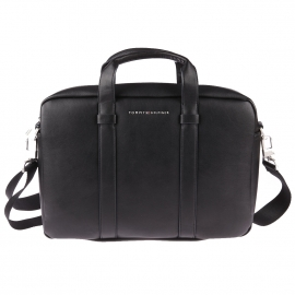 Porte-documents et ordinateur Tommy Hilfiger City en simili cuir noir