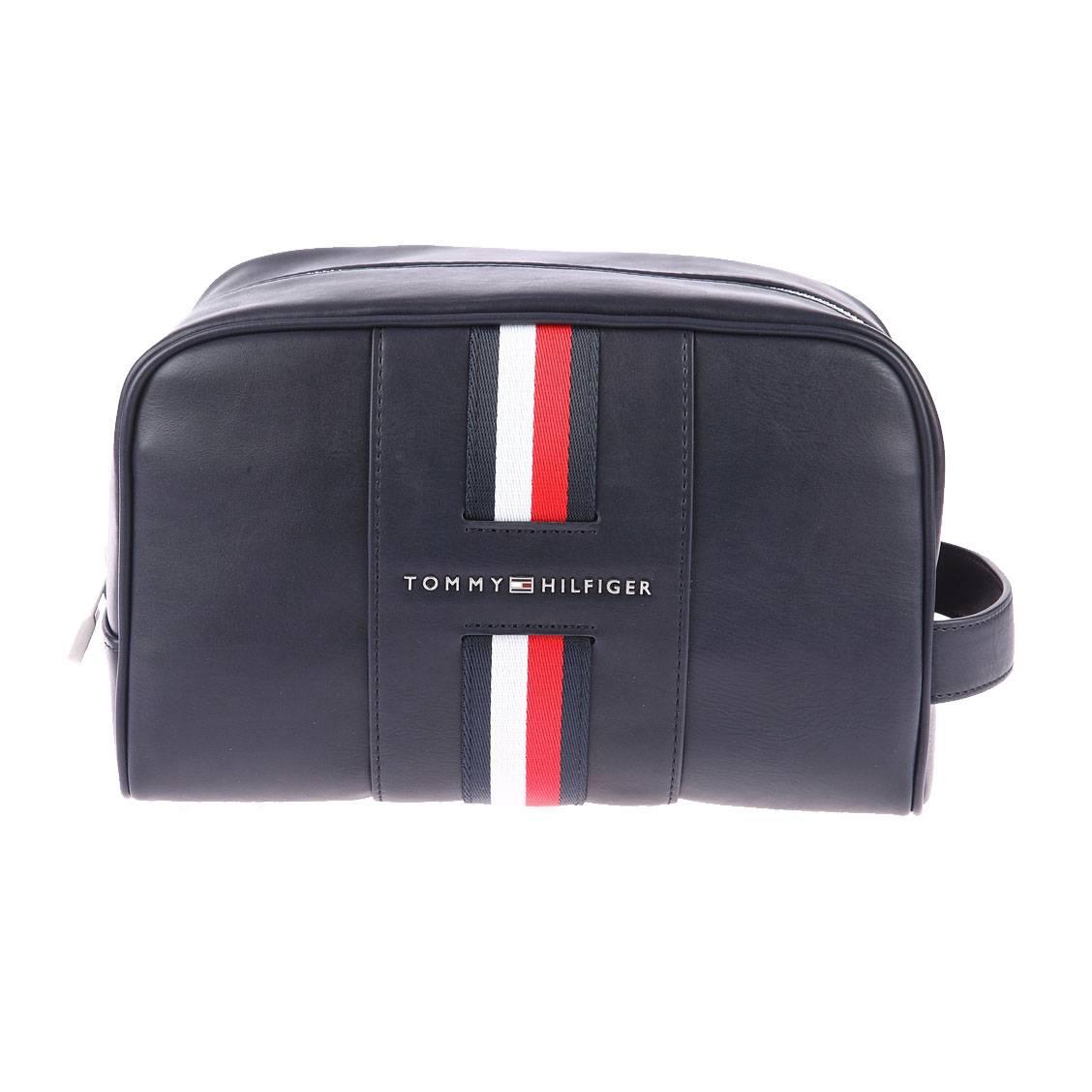 Trousse De Toilette Tommy Hilfiger Simili Cuir Bleu Marine Liser Bleu Marine Rouge Et Blanc