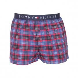Caleçon Tommy Hilfiger en twill à carreaux bleu marine, rouges et bleu roi