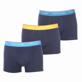 Lot de 3 boxers Tommy Hilfiger en coton stretch bleu marine à ceinture orangée, bleu cyan et bleu canard