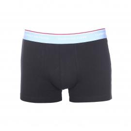 Lot de 3 boxers Tommy Hilfiger en coton stretch noir à ceinture bleu marine, bleu ciel et bleu azur