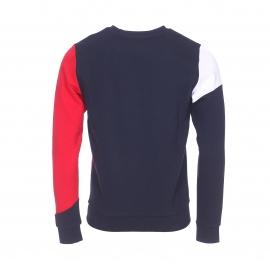 Sweat col rond Tommy Hilfiger bleu marine à empiècement blanc et rouge
