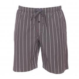 Pyjama court Tommy Hilfiger : Tee-shirt blanc et bermuda gris à fines rayures