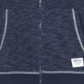 Sweat zippé à capuche Tom Tailor bleu marine effet chiné