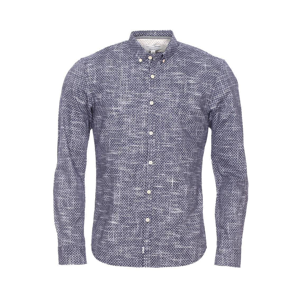Chemise ajustée  bleu nuit à imprimés losanges et traits blancs patinés