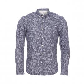 Chemise ajustée Tom Tailor bleu nuit à imprimés losanges et traits blancs patinés