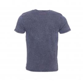 Tee-shirt col V Teddy Smith Tbill en coton flammé bleu nuit effet patiné