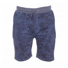 Bermuda The Fresh brand en molleton bleu marine à imprimés feuilles