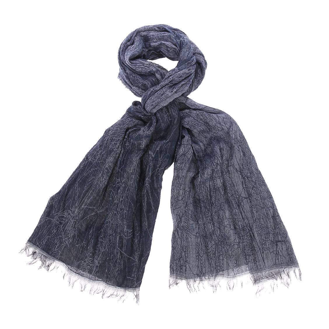 Chèche froissé  bleu nuit à motifs gris