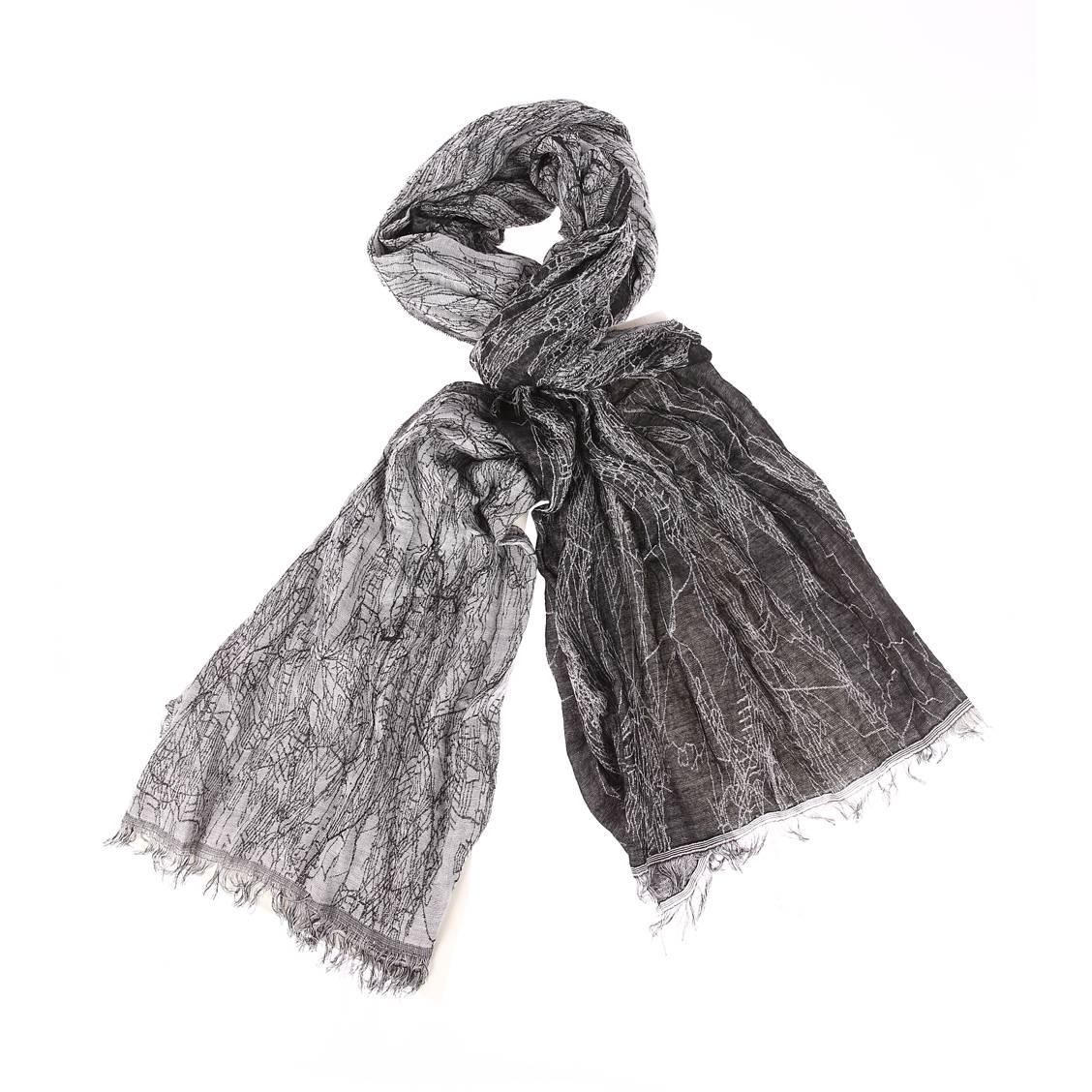 Chèche froissé  noir à motifs gris effet marbré