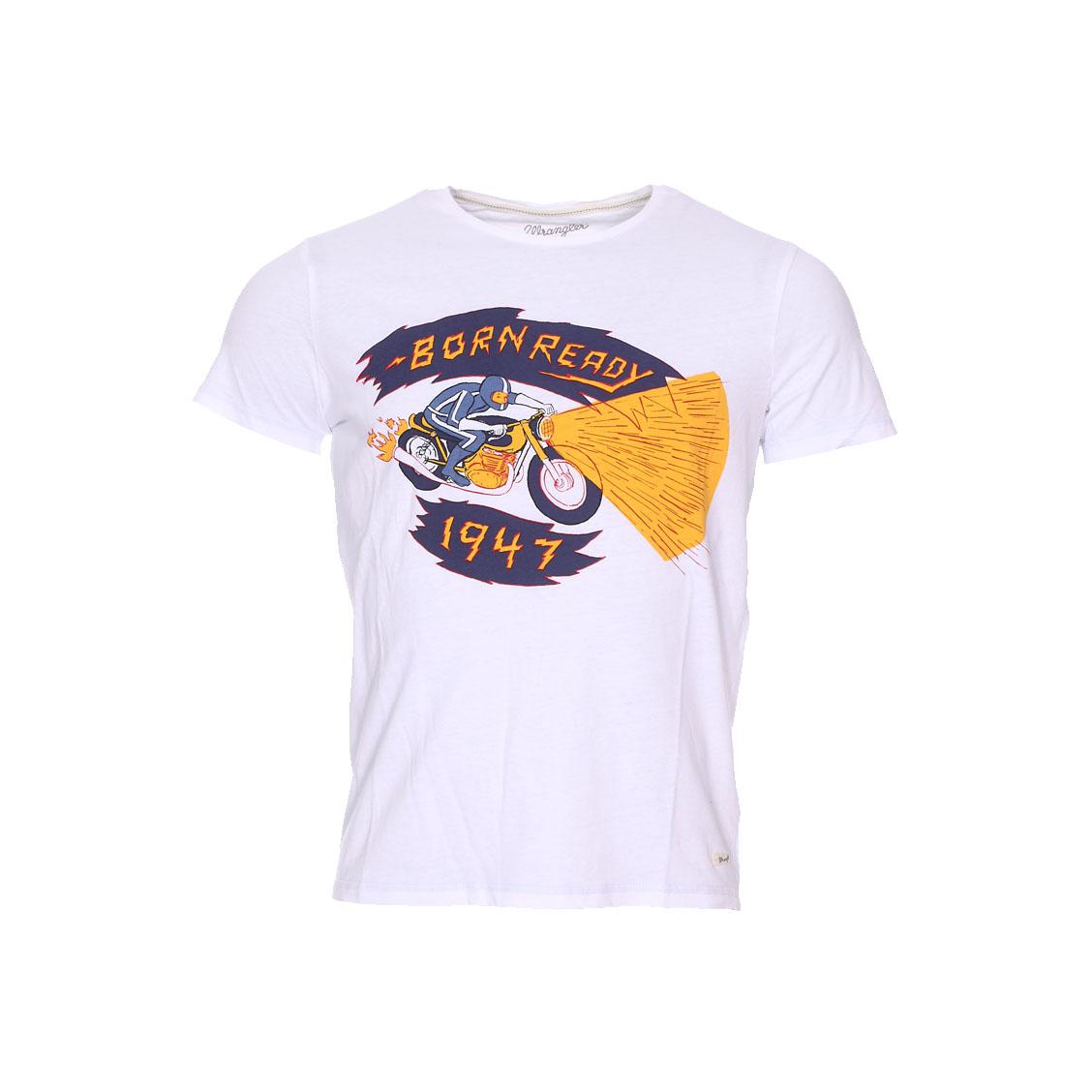 Tee-shirt col rond  graphic blanc imprimé \