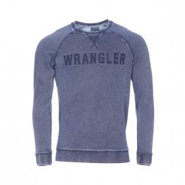 Sweat col rond Wrangler bleu effet jean brodé Wrangler