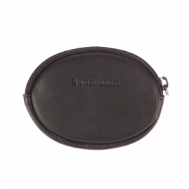 Porte-monnaie ovale Serge Blanco en cuir souple noir