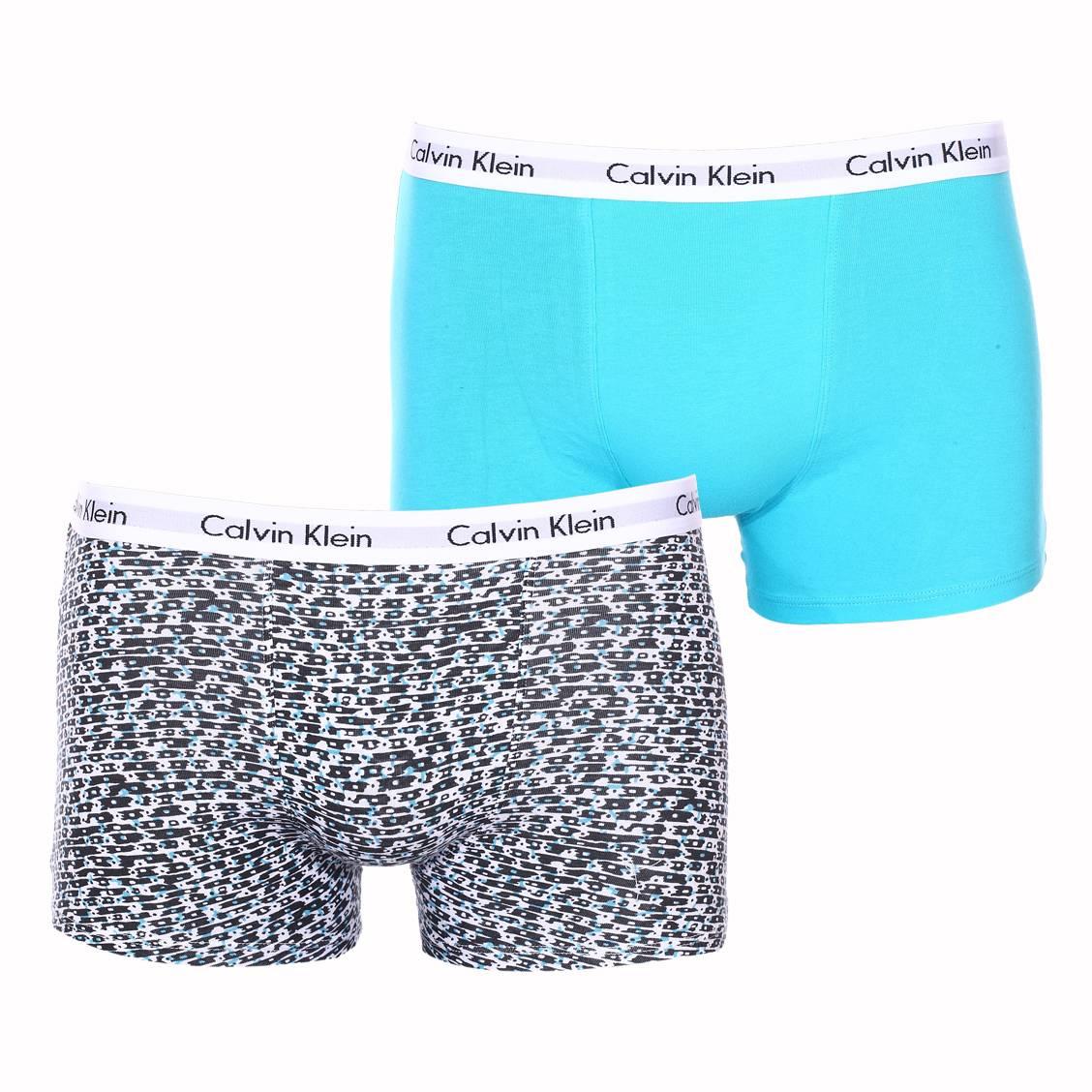 Lot de 2 boxers  en coton stretch bleu turquoise et blanc à imprimé noir et turquoise
