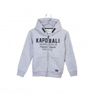 Sweat zippé à capuche Kaporal Junior en coton gris chiné à flocage bleu marine