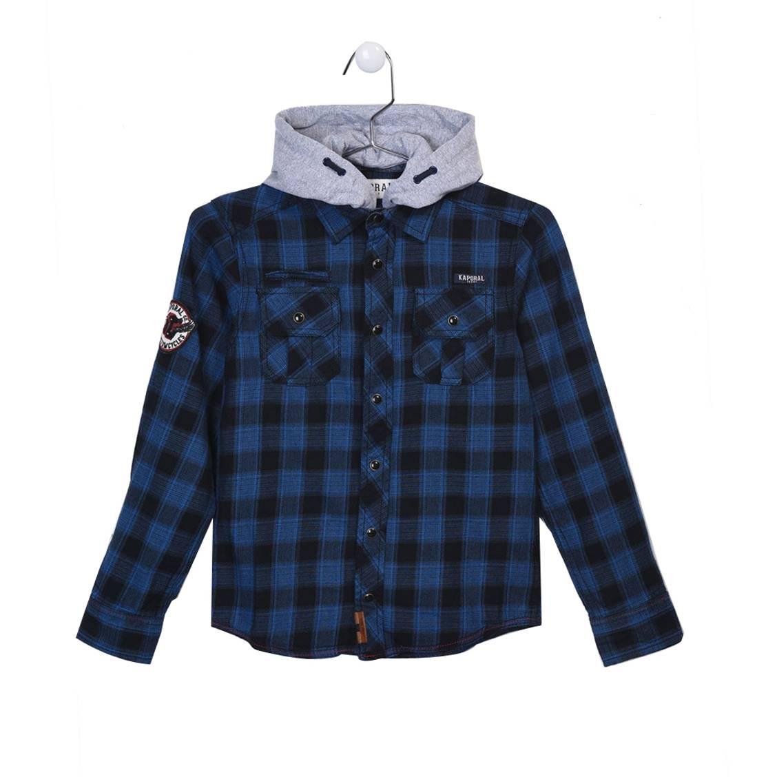 Chemise droite  ned en coton à carreaux bleus et noirs, à capuche amovible