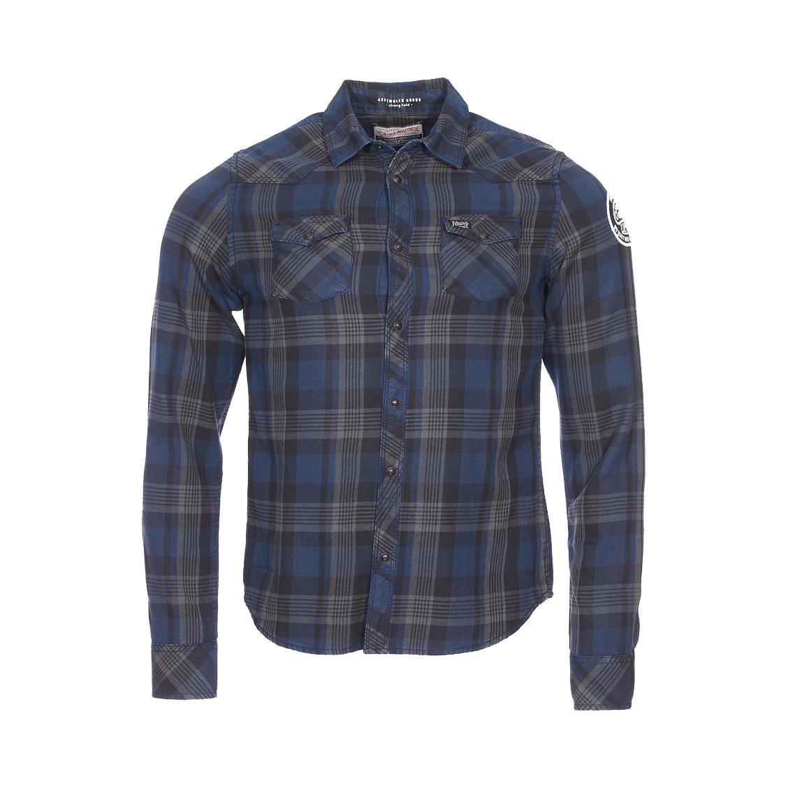 Chemise  en coton à carreaux bleu marine, marron clair et noires