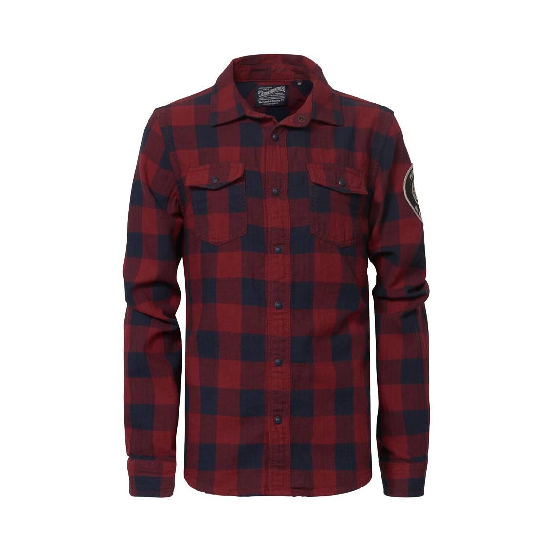 Chemise  en coton à carreaux bordeaux et bleu marine floqué dans le dos