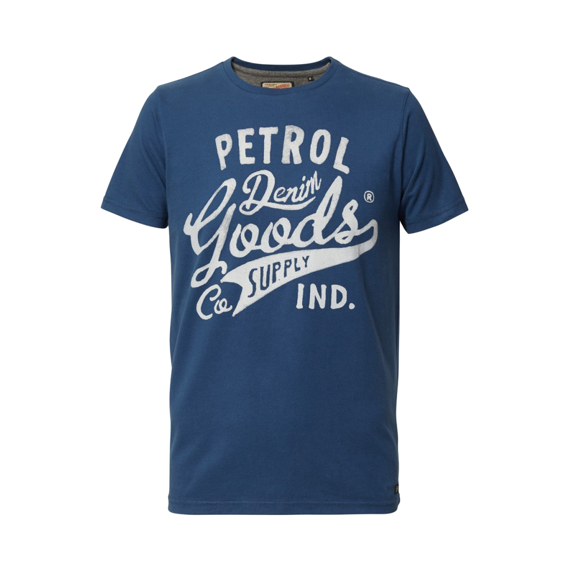 Tee-shirt col rond  en coton bleu floqué en blanc