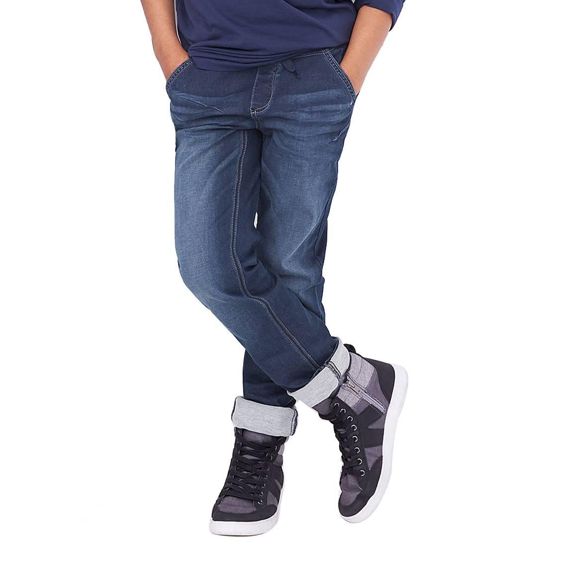 Jean S. Oliver en coton mélangé stretch bleu brut à ceinture élastiquée grise