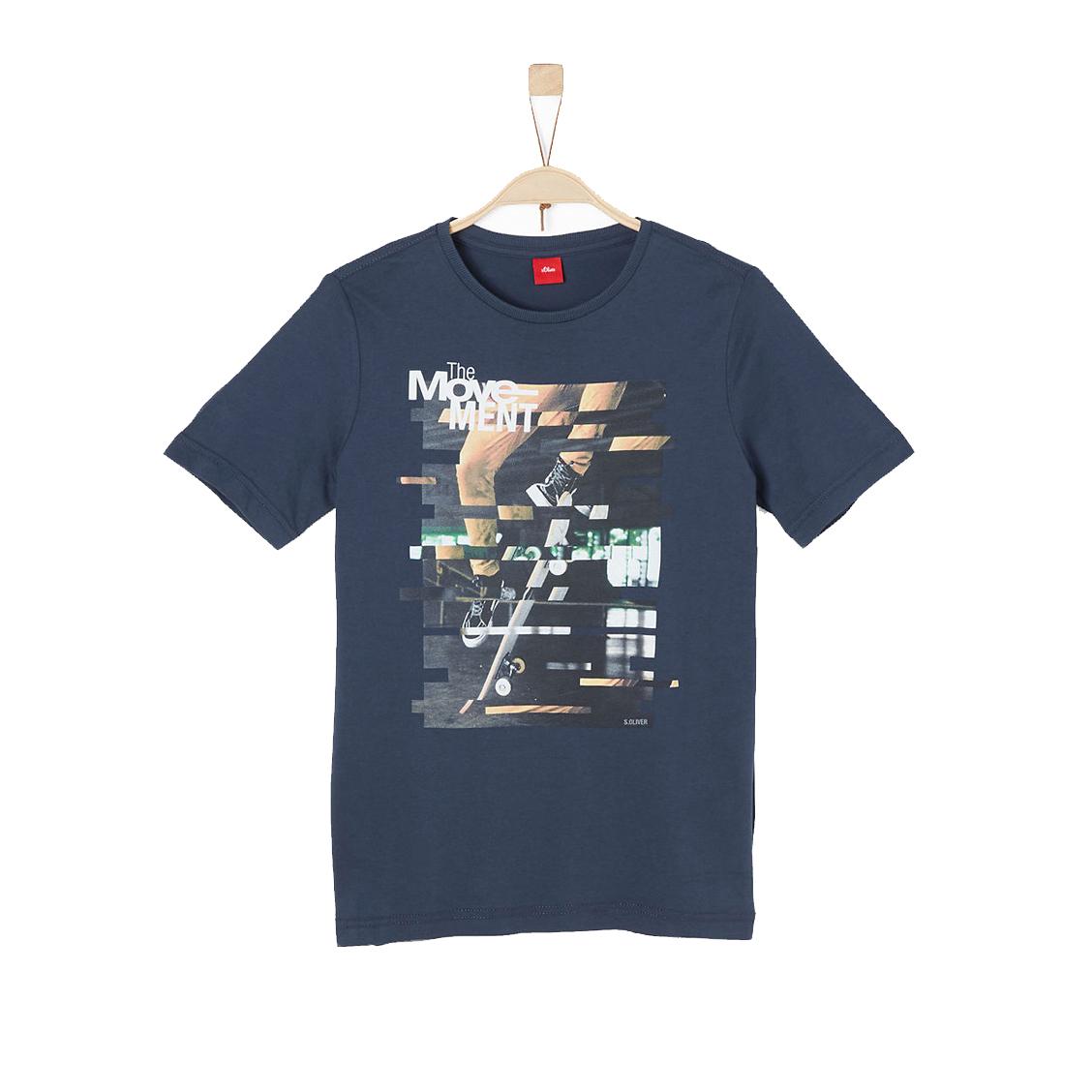 Tee-shirt col rond  en coton bleu marine floqué