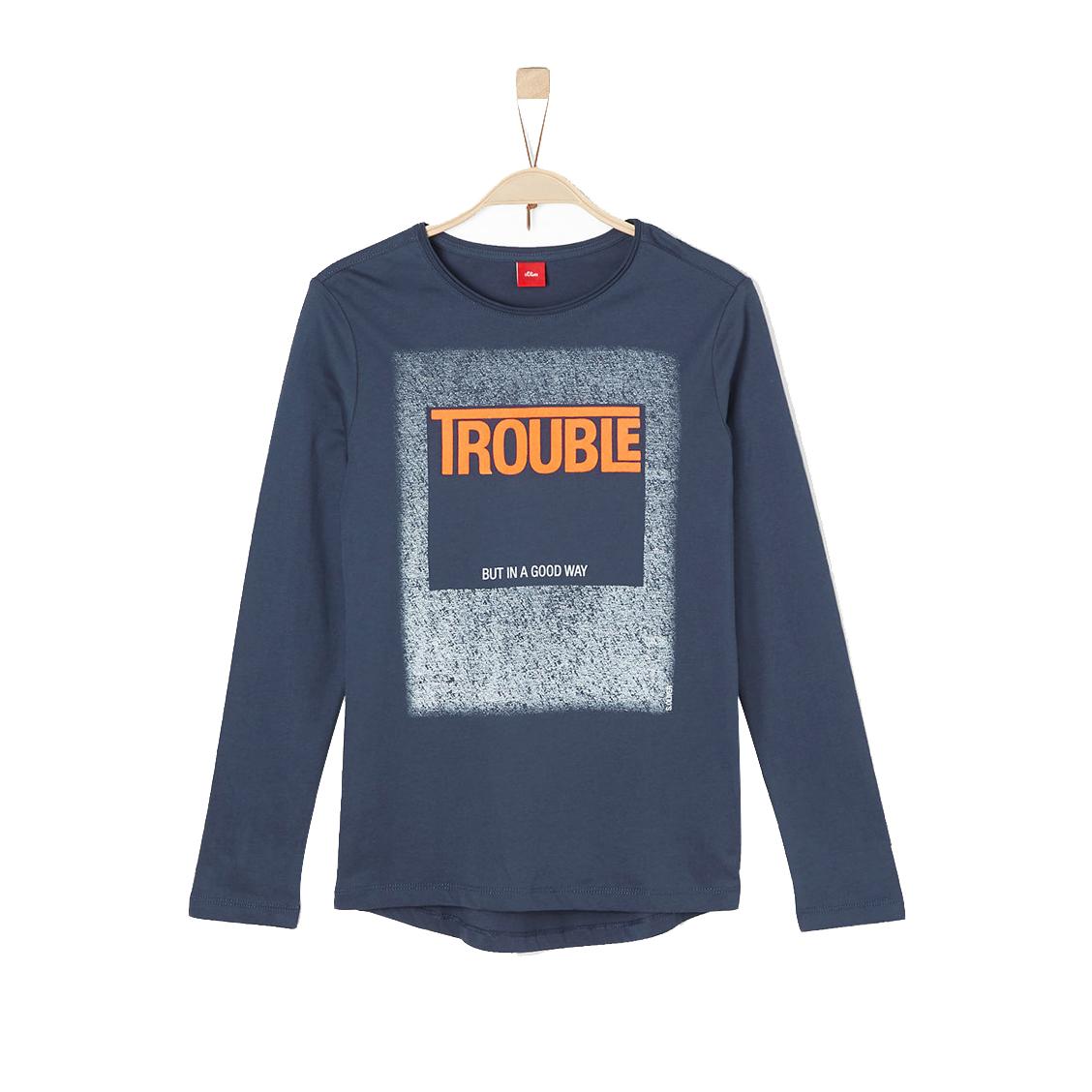 Tee-shirt col rond manches longues  en coton bleu marine floqué en blanc et orange