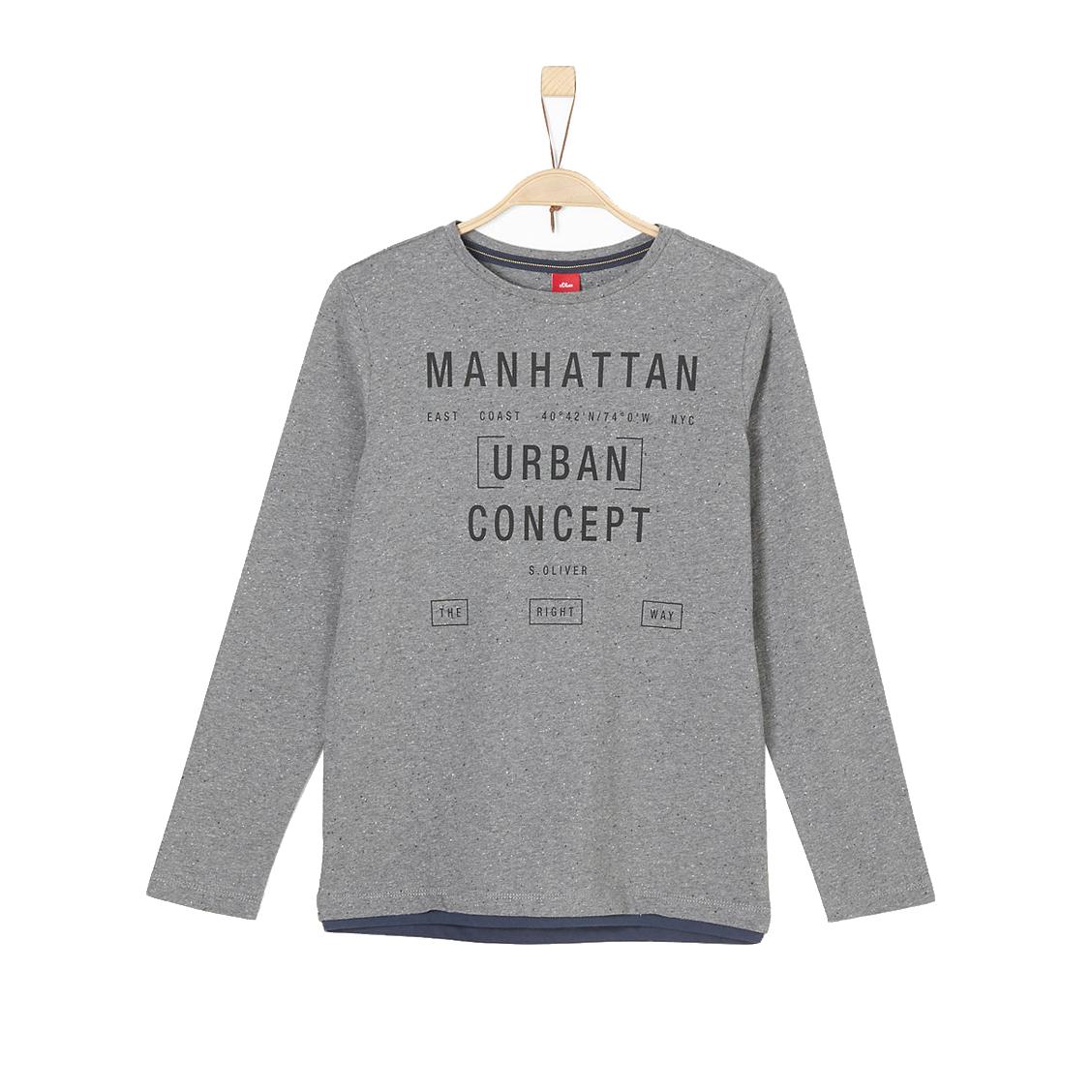Tee-shirt manches longues col rond  en jersey de coton gris anthracite chiné floqué en noir
