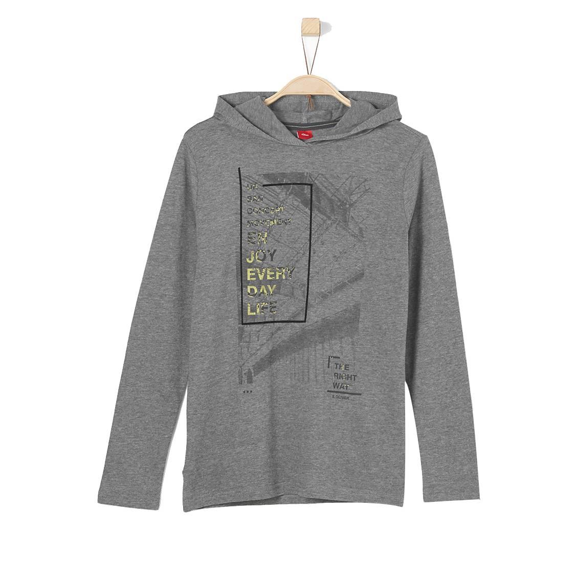 Tee-shirt manches longues à capuche S. Oliver Junior en coton mélangé gris anthracite chiné floqué