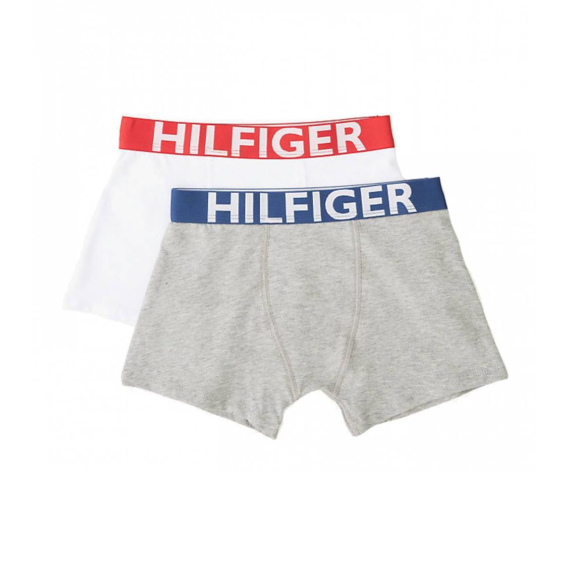 Lot de 2 boxers  en coton stretch blanc et gris chiné à ceintures colorées