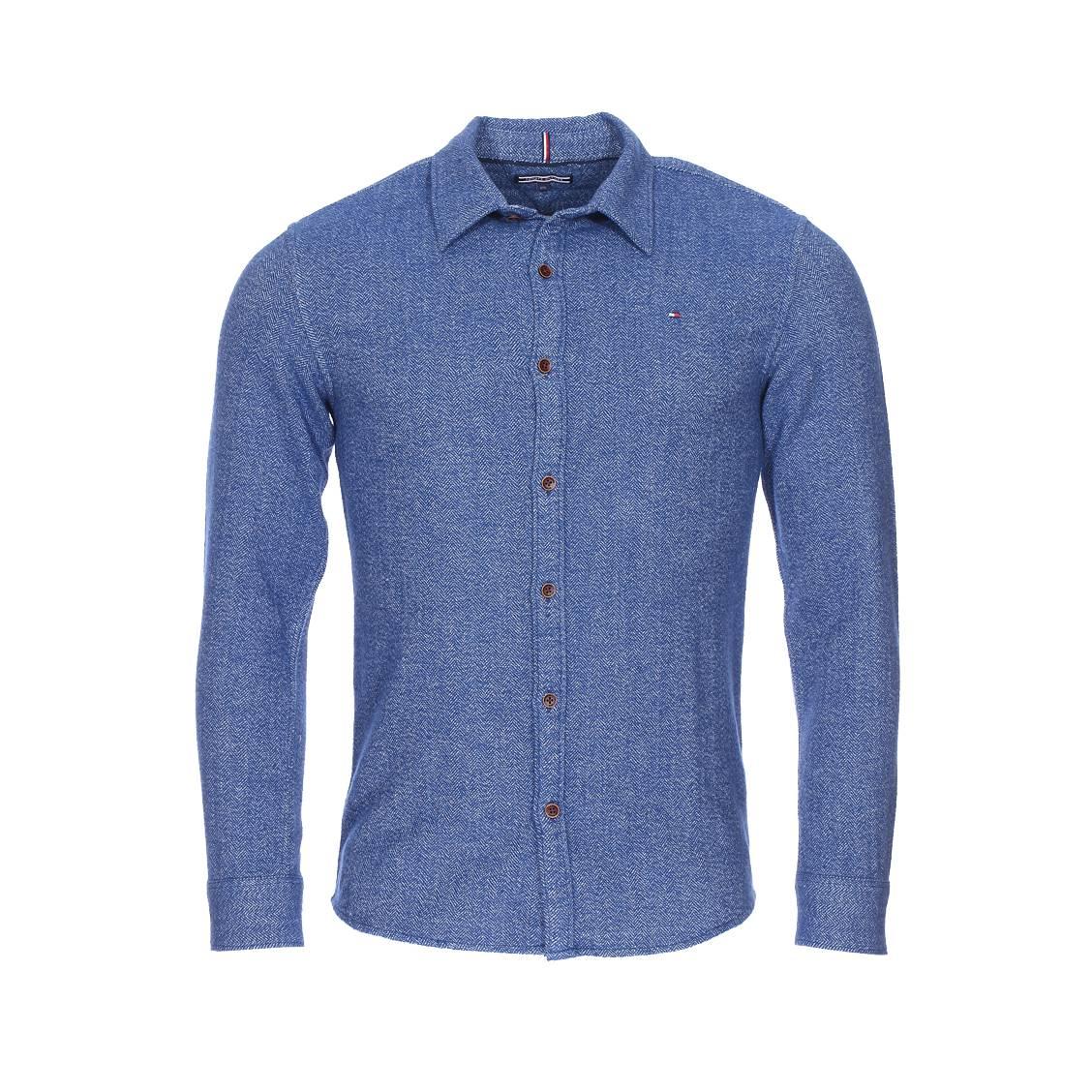 Chemise ajustée Tommy Hilfiger Junior en coton à chevrons bleu indigo et blancs