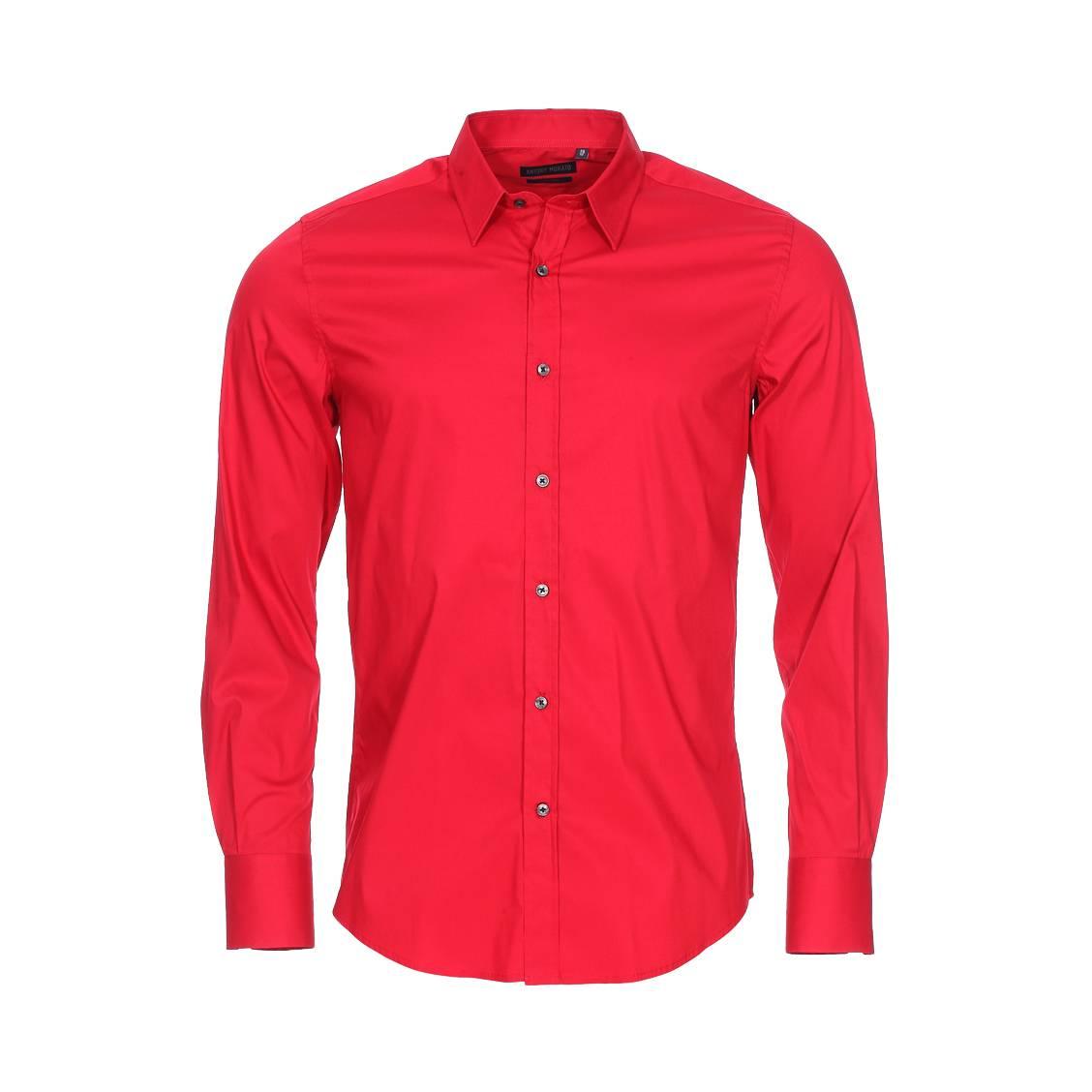 Chemise extra slim  en coton mélangé stretch rouge