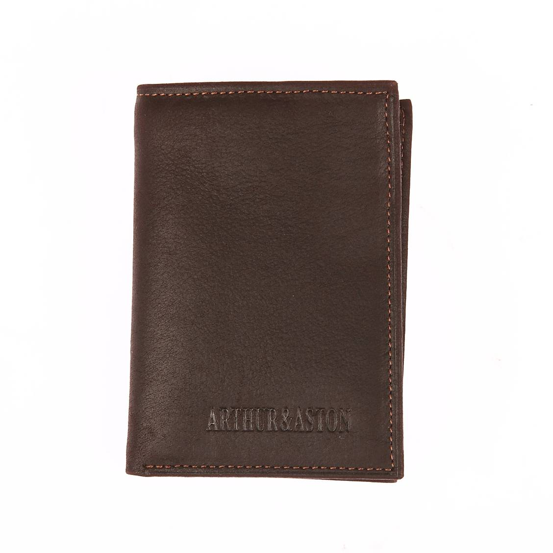 Porte-cartes 2 volets arthur & aston en cuir gras marron