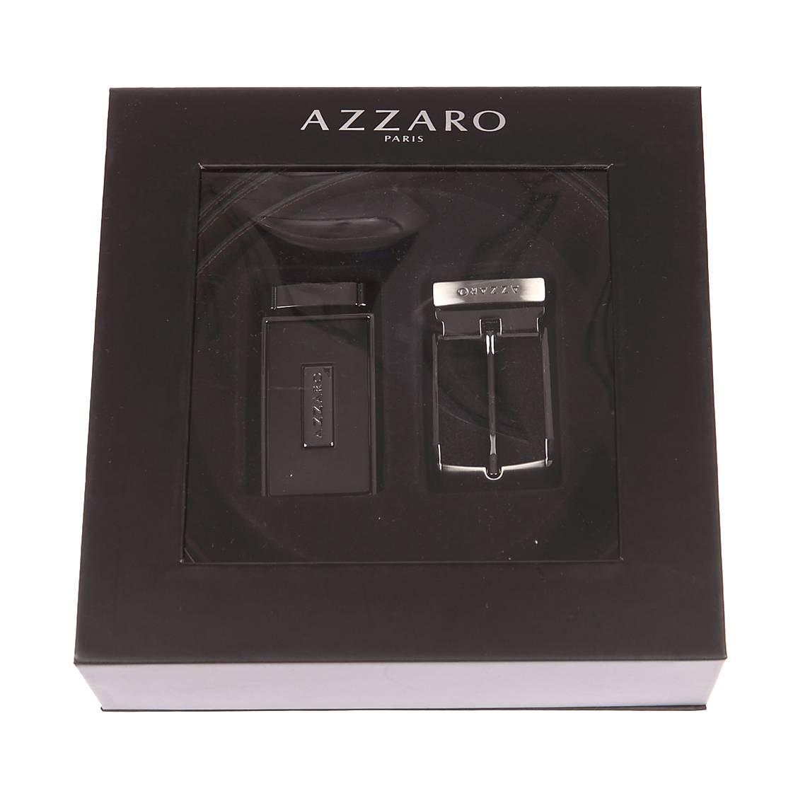 fc0a0704fe98 Coffret cadeau Azzaro   ceinture en cuir noir réversible marron à boucle  pleine argentée et noire ...