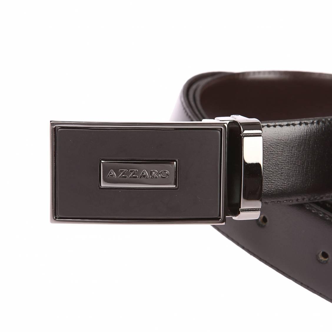 0b4bbf940dc ... Coffret cadeau Azzaro   ceinture en cuir noir réversible marron à boucle  pleine argentée et noire