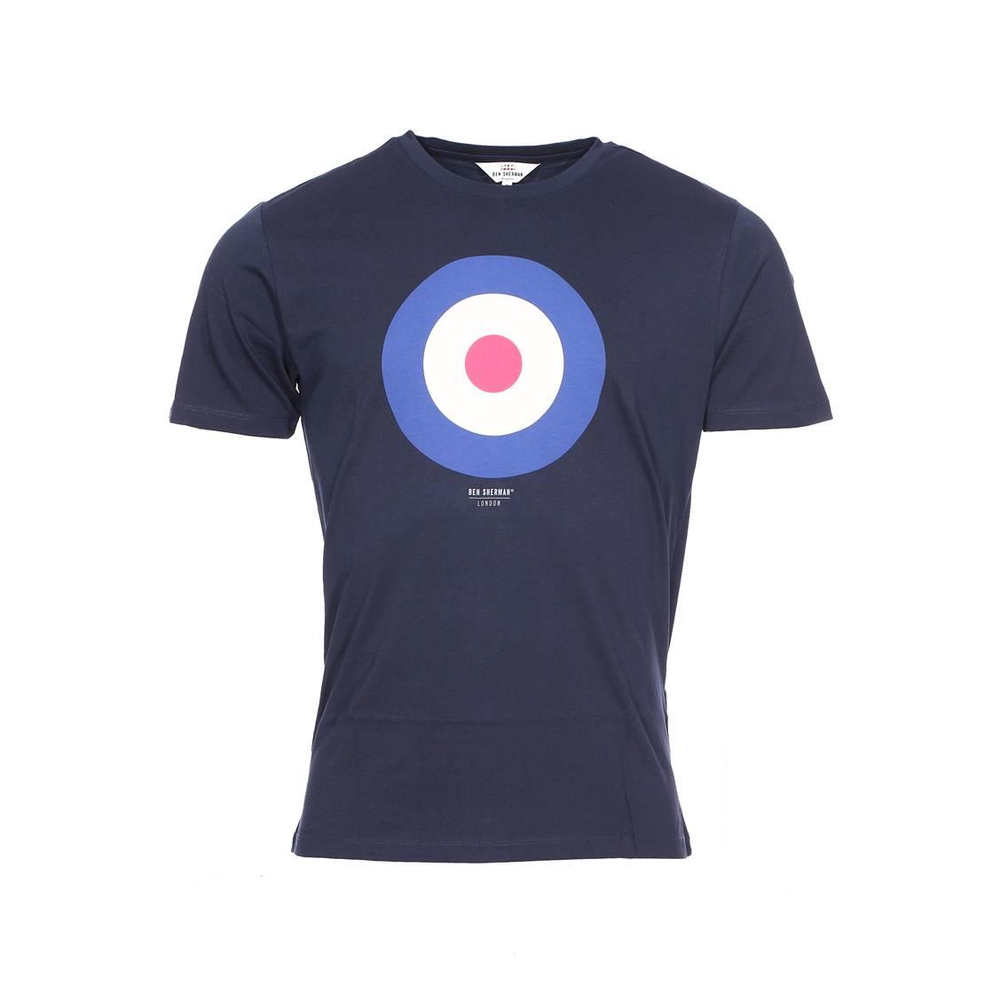 Tee-shirt col rond  bleu marine à imprimé cible