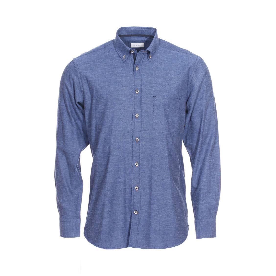 Chemise droite Bugatti en piqué de coton bleu jean