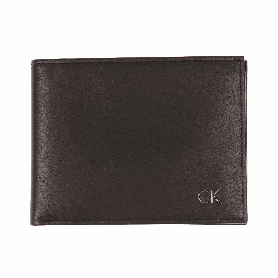 Calvin Klein Portefeuille européen en cuir - 8 cartes Noir RIgQDL
